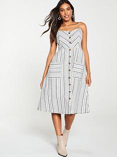 warehouse-stripe-button-linen-dress-grey-stripe