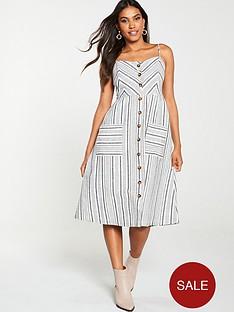 warehouse-stripe-button-linen-dress-grey-stripe