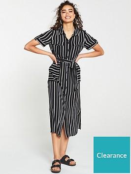 warehouse-stripe-utility-shirt-dress-black