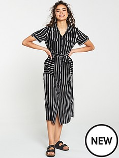 warehouse-warehouse-black-stripe-utility-shirt-dress
