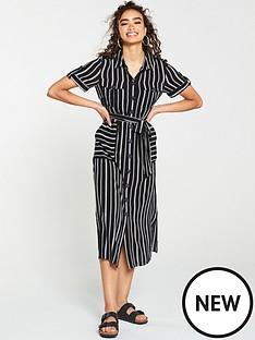warehouse-warehouse-black-stripe-utility-shirt-dress