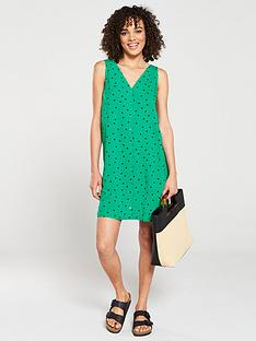 warehouse-green-spot-button-through-mini-dress-green-print