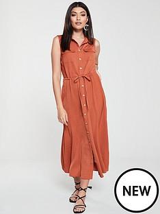 warehouse-warehouse-textured-button-through-midi-shirt-dress