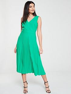 warehouse-pleated-midi-dress-green