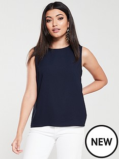 warehouse-satin-tipped-shell-top-navy