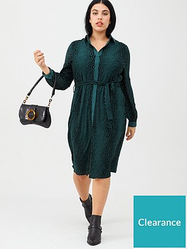 v-by-very-curve-flocked-animal-midi-dress-forest-green