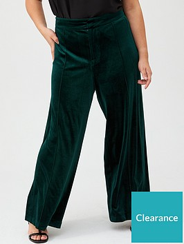 v-by-very-curve-velour-wide-leg-trouser-forest-green