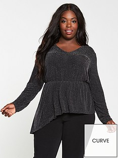 v-by-very-curve-lurex-glitter-ruffle-long-sleeve-top-black