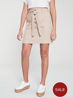 oasis-belted-paperbag-linen-skirt-stone