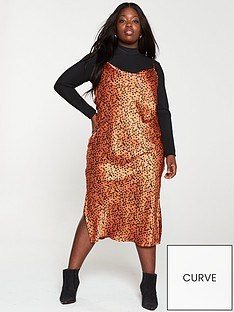 v-by-very-curve-animal-cowl-neck-slip-dress-rust