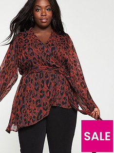 v-by-very-curve-red-animal-print-wrap-top-multi