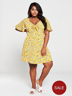 oasis-curve-daisy-knot-front-sundress-yellow