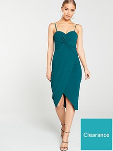 v-by-very-knot-front-scuba-crepe-midi-dress-forest-green