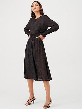 v-by-very-lurex-gold-stripe-ruched-waist-midi-dress-black-stripe