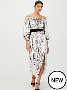 v-by-very-bardot-sequin-blouson-sleeve-velvet-tie-midi-dress-silver