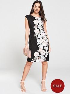 wallis-floral-geo-ruched-side-dress-blacknbsp