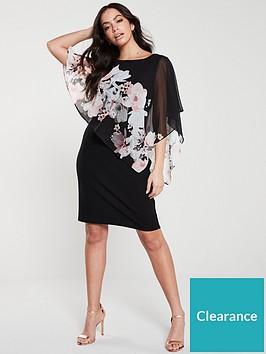 wallis-floral-asymmetric-overlaynbspdress-black