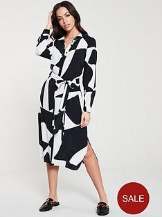 wallis-monochrome-print-shirt-dress-black