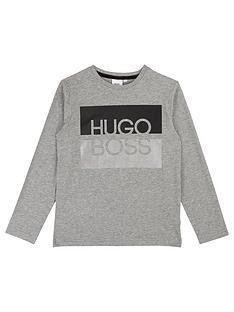 boss-boys-long-sleeve-metallic-logo-t-shirt-grey