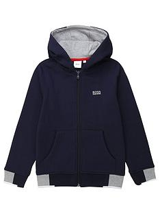 boss-boys-classic-logo-hood-zip-through-sweat-top-navy