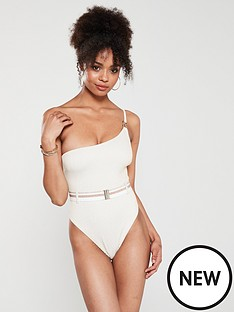 7f463b7eb39ca River Island River Island One Shoulder Ribbed Swimsuit - Cream