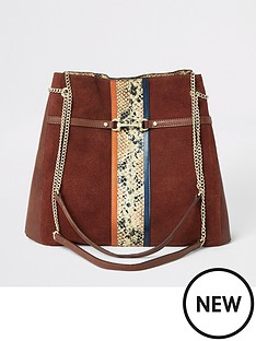 0611a377b9 River Island River Island Snake Panel Leather Slouch Bag - Rust