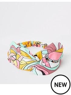 river-island-river-island-printed-twist-headband-pink