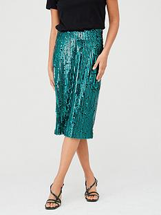 v-by-very-sequin-stripe-midi-skirt-green