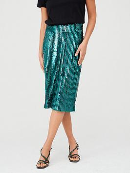 v-by-very-sequin-stripe-midi-skirt-green