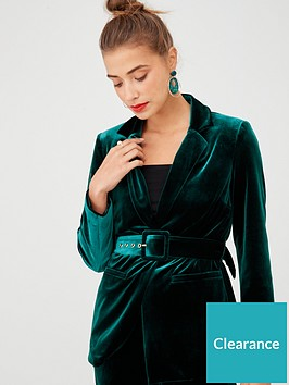 v-by-very-belted-velvet-jacket-forest-green