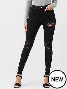 v-by-very-ella-high-waist-random-rip-skinny-jeans-black