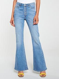 v-by-very-high-waist-button-detail-skinny-flare-jeans-mid-wash