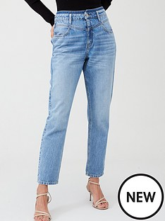 v-by-very-yoke-detail-girlfriend-jeans-light-wash
