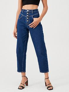 v-by-very-high-waist-barrel-leg-jean-dark-wash