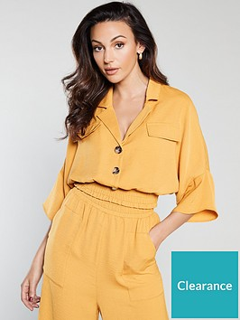michelle-keegan-shirred-waist-blouse-mustard