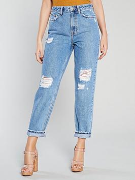 michelle-keegan-rip-detail-boyfriend-jeans-blue