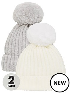 v-by-very-2-pack-baby-pom-pom-hats-greycream