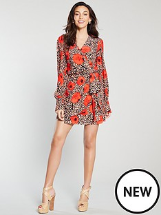 michelle-keegan-wrap-printed-mini-dress-red-print