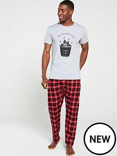 v-by-very-slogan-print-pyjama-set-greyred-check