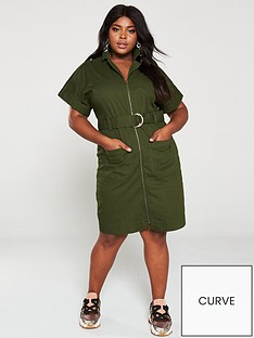 v-by-very-curve-utility-pocket-detail-dress-khaki