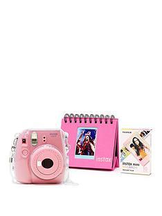 b2be677c2dd2 Fujifilm Instax Fujifilm Instax Mini 9 Pink Camera Kit with 10x Macaron Film,  Glitter Case, Flip Album