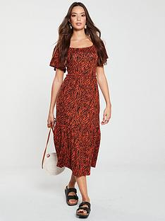 v-by-very-tiger-print-midi-dress-orange