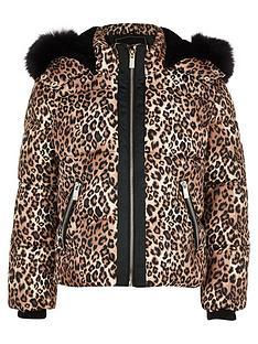 river-island-girls-leopard-faux-fur-padded-jacket-brown