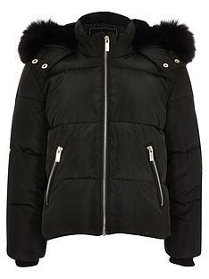 river-island-girls-faux-fur-hooded-padded-coat-black