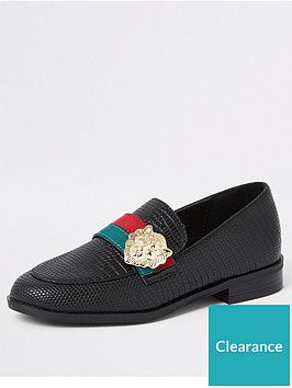 river-island-girls-lion-head-tape-loafers-black