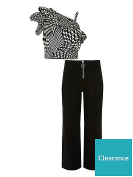 river-island-girls-dogtooth-check-print-crop-top-outfit-black