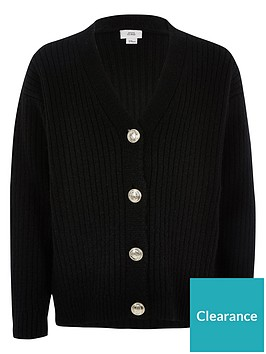 river-island-girls-rib-button-front-cardigan-black