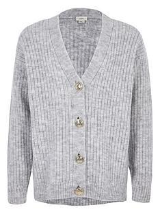 river-island-girls-rib-button-front-cardigan-grey