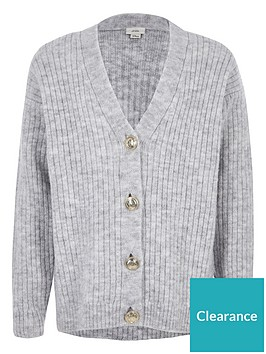 river-island-girls-rib-button-front-cardigan-grey