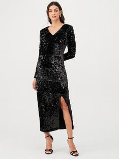 v-by-very-plunge-sequin-v-maxi-dress-black